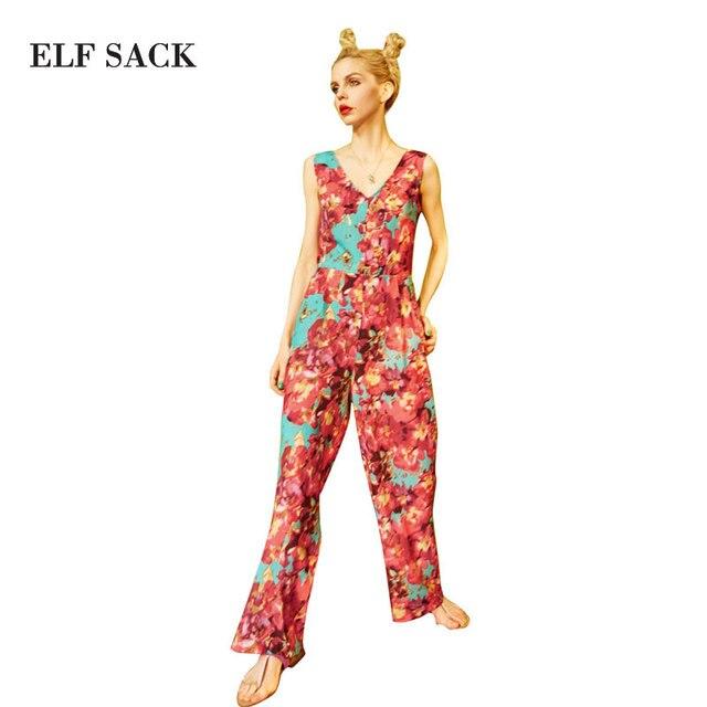 22573e4f70f ELF SACK Summer Chiffon Jumpsuits Women Romper Sleeveless V-Neck Womens  Long Jumpsuit Sexy Backless Bow Floral Print Leotard