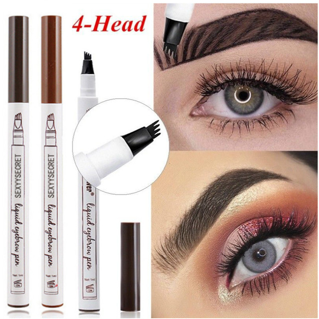 9 Colors 4 Head Henna Eyebrow Marker Pencil Microblading Liquid Eye Brow Pen Eyebrows Shades Makeup Sourcil Eyebrow Tint Tatto Pencil Eyebrow Henna Makeup Tools 2