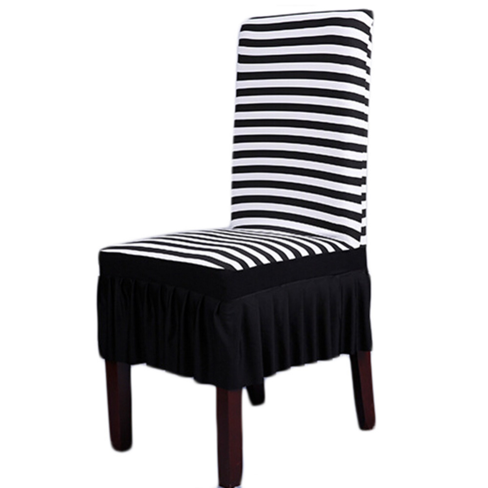 White Dining Room Chair Covers: Fashion Modern Black White Stripes Stretch Chair Cover