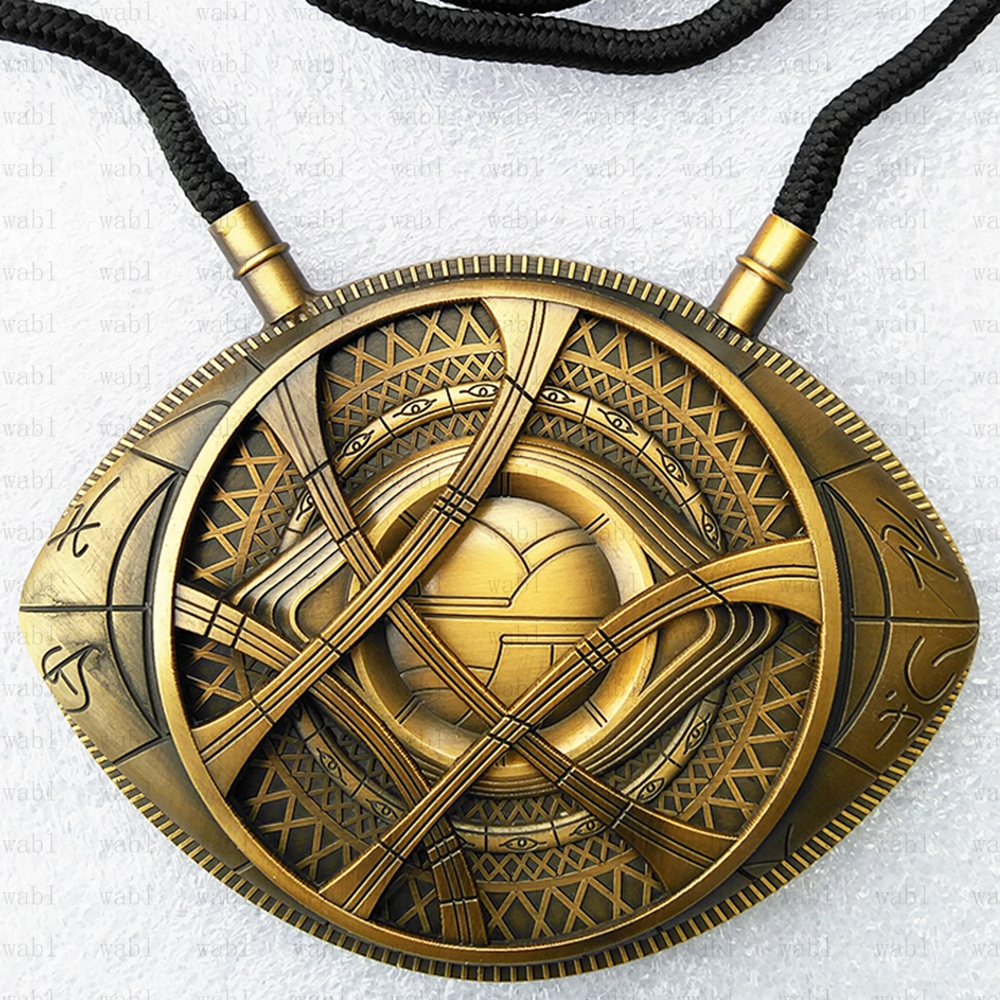 sale retailer 4ca48 31421 US $16.99 31% OFF|1:1 High Quality Doctor Strange Necklace Eye of Agamotto  Amulet Antique Bronze Pendant Long Necklace Cosplay Jewelry-in Action & Toy  ...