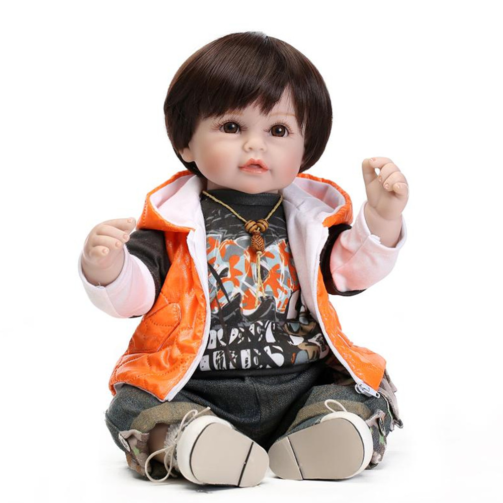 Newborn Baby Boy Doll with Clothes and Shoes,19 Lifelike Baby Doll Silicone Babies Toys for Children Free Shipping