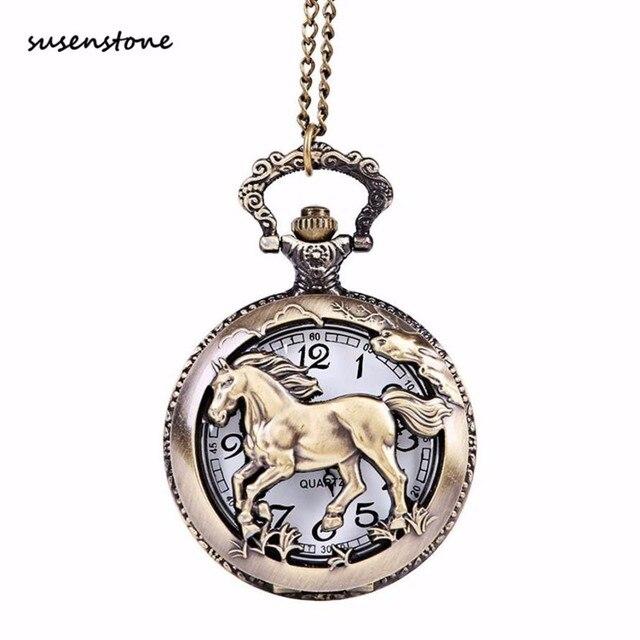 Susenstone For Grandpa Dad Gifts Pocket Watch Men Chain Retro Pocket Watch Necklace New Fashion Clock 40