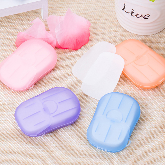 20pcs Random Disposable Boxed Soap Paper Travel Portable Outdoor Hand Washing Cleaning Scented Slice Sheets Mini Paper Soap 2