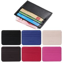 6 Color Card Holder Men's Business Pocket Slim Thin ID Credit Card Money Holder Wallet  Faux leather Man Card Case Wallets(China)