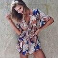 Beach Wear 2016 Mulheres Jumpsuit Decote em V Profundo Impressão Macacão Playsuit Rompers Mulheres Jumpsuit Calções macacão feminino S6418