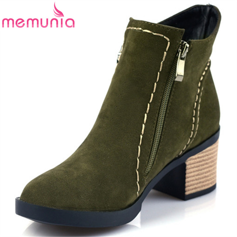 MEMUNIA Flock solid zipper ankle boots woman fashion popular women shoes high heels boots spring autumn big size 34-44 memunia 2017 fashion flock spring autumn single shoes women flats shoes solid pointed toe college style big size 34 47