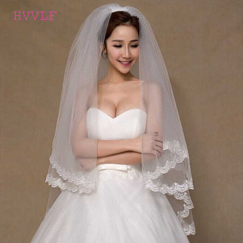 Voile Mariage White Ivory Tulle Short Wedding Veils Lace Edge Bridal Veil With Comb Wedding Accessories