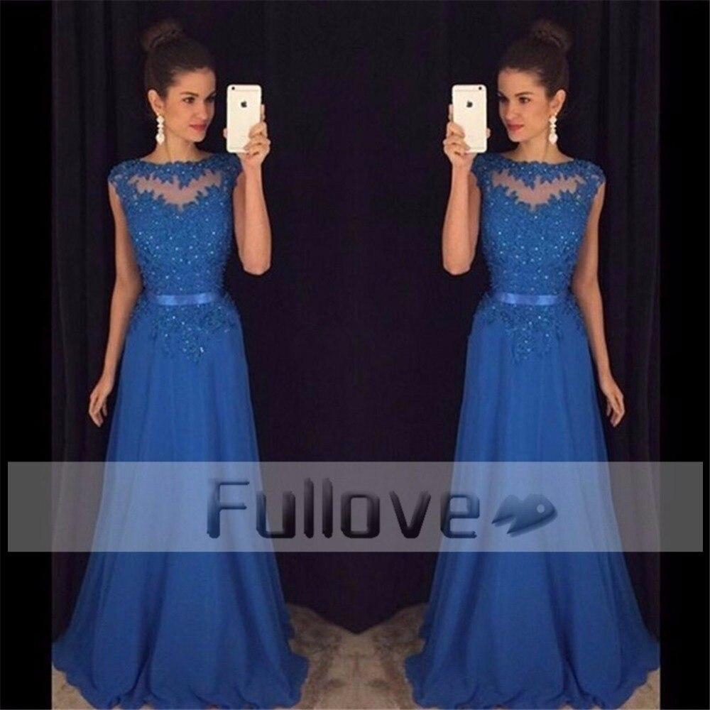 Royal Blue Crystal Beaded   Prom     Dress   Long 2019 Sheer Chiffon A-Line Party Gowns Cap Sleeve Vestidos De Fiesta Robe De Soiree