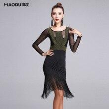 Sexy fashion Long-sleeve Gauze Irregular Latin Dance Tassel one-piece dress for women/female, Ballroom tango Costumes MD7122