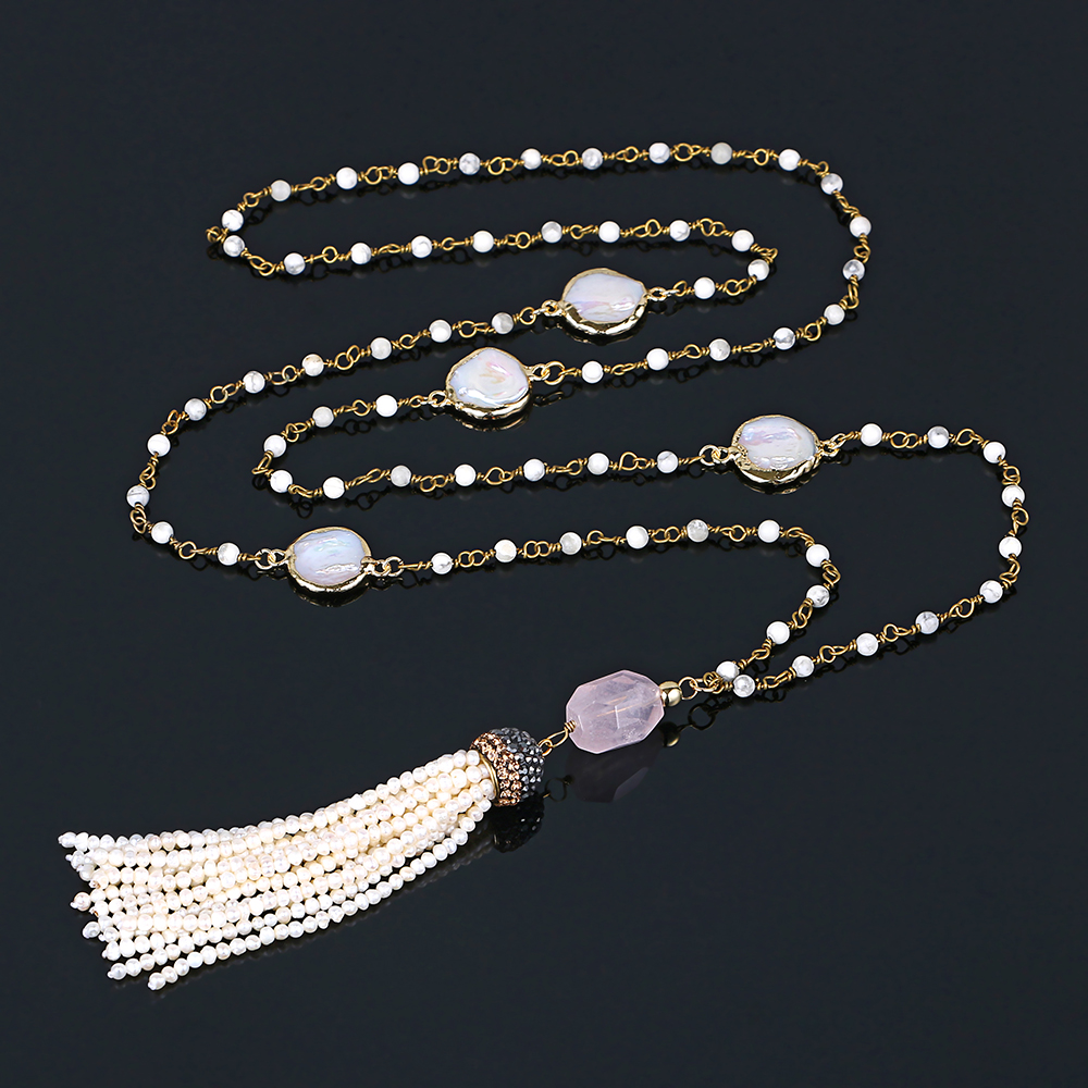 Irregular Rose Quartz Pendant Necklaces White Turquoise Chain Pearl Tag Necklace DIY Freshwater Pearl Tassel Necklaces For WomenIrregular Rose Quartz Pendant Necklaces White Turquoise Chain Pearl Tag Necklace DIY Freshwater Pearl Tassel Necklaces For Women