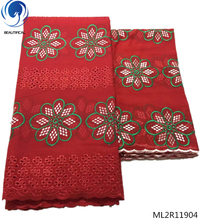 BEAUTIFICAL red swiss lace fabric nigerian voile in switzerland austria 7yards/set ML2R119