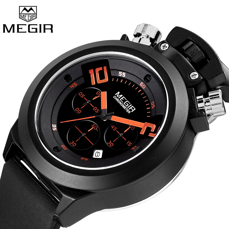 MEGIR Fashion Men Quartz Analog Watches Auto Date Chronograph Sport Watch Male Clock Silicone Military Watches Relogio Masculino