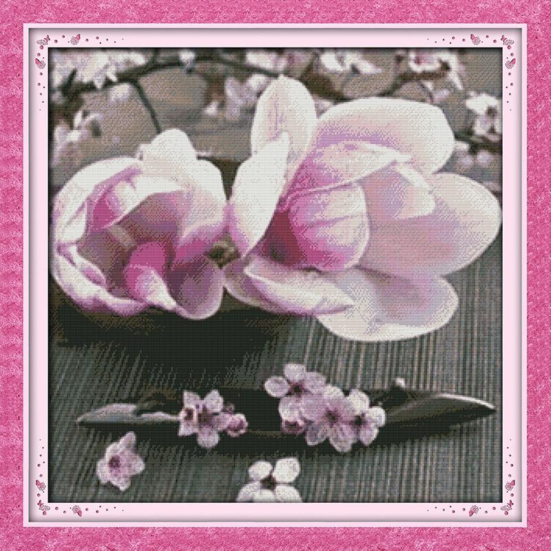 Piękny kwiat magnolii drukowane płótno DMC Counted chiński Cross - Sztuka, rękodzieło i szycie - Zdjęcie 6