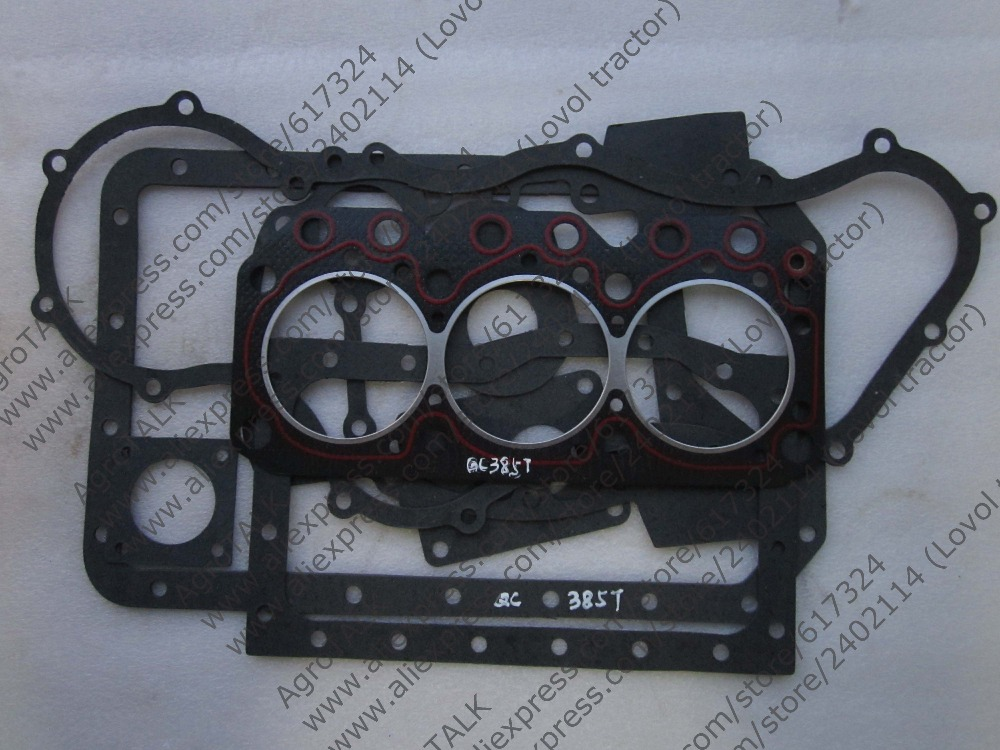 Quanchai QC385T for Foton tractor FT244 FT254, the set of gaskets including the head gasket laidong km4l23bt for tractor like luzhong series set of piston groups with gaskets kit including the cylinder head gasket