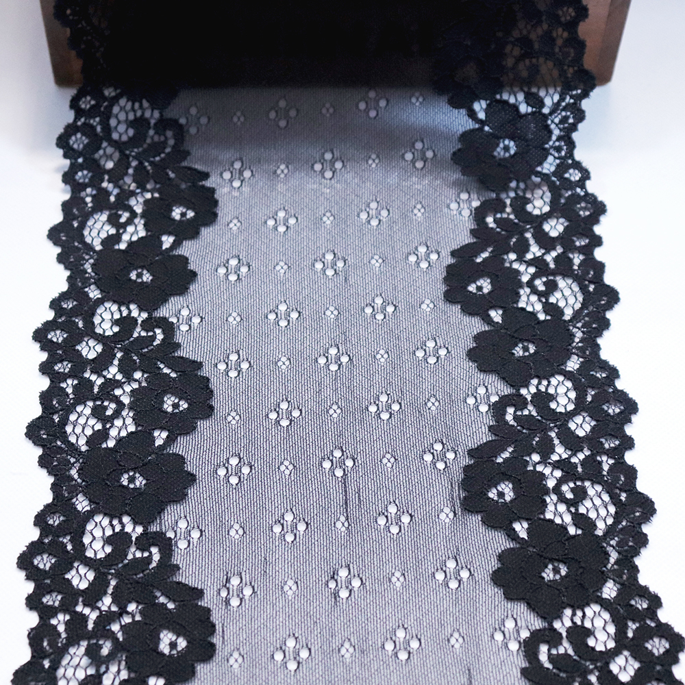 19 5 cm 2 Yards Stretch Black Lace Elastic Trimmings DIY Clothes Accessories Bra Sewing Lace Appliques French Net Lace Fabrics in Lace from Home Garden