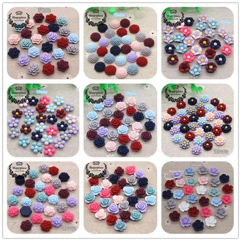 50PCS 12-15mm Mix Matte Colors Cute Resin Vintage Flowers Flatback Cabochon DIY Jewelry/Craft Scrapbook Decoration