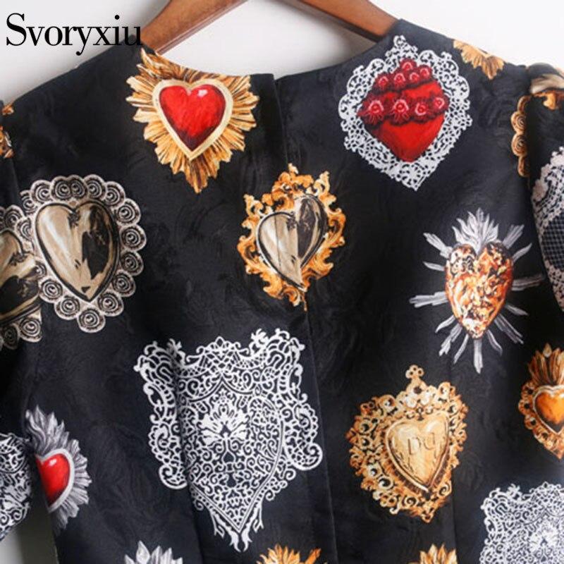 Svoryxiu 2019 piste Vintage petites robes noires femmes Chic manches bouffantes imprimé Jacquard femme fête Slim une ligne Mini robe - 6