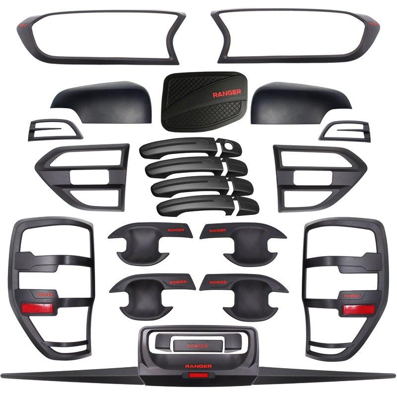 Набор для тюнинга корпуса Ford Ranger T7 MK2, автомобильные аксессуары, матовый черный АБС-пластик, аксессуары для автостайлинга 2015-2018