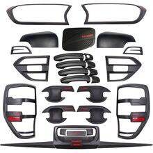 Para ford ranger t7 mk2 kits de corpo capa tuning acessórios do carro fosco preto abs plástico estilo automático moldando acessório 2015-2018