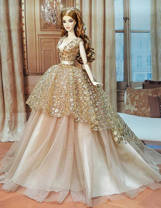 Luxury Champagne Sequins Princes Flower Girl Dresses for Wedding Girls Wedding Party Gowns Pageant Dress