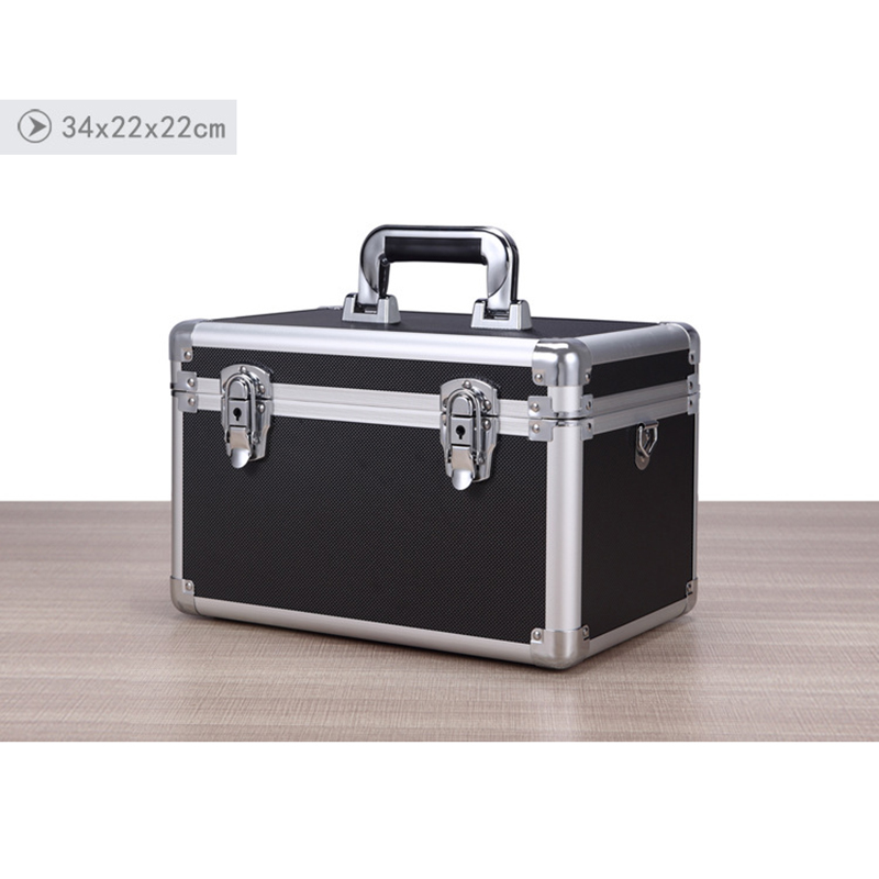 Aluminum Tool Case Suitcase Toolbox File Box Impact Resistant Safety Case Password Box Suitcase W Shoulder Strap