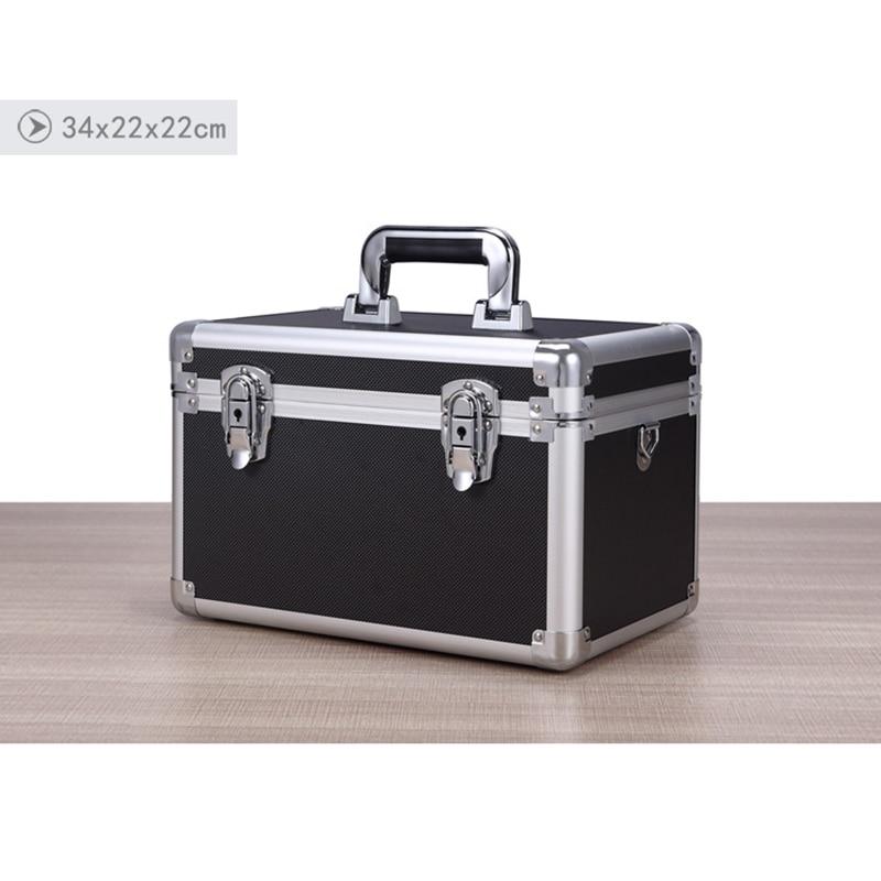 Aluminum Tool Case Suitcase Toolbox File Box Impact Resistant Safety Case Password Box Suitcase W Shoulder Strap