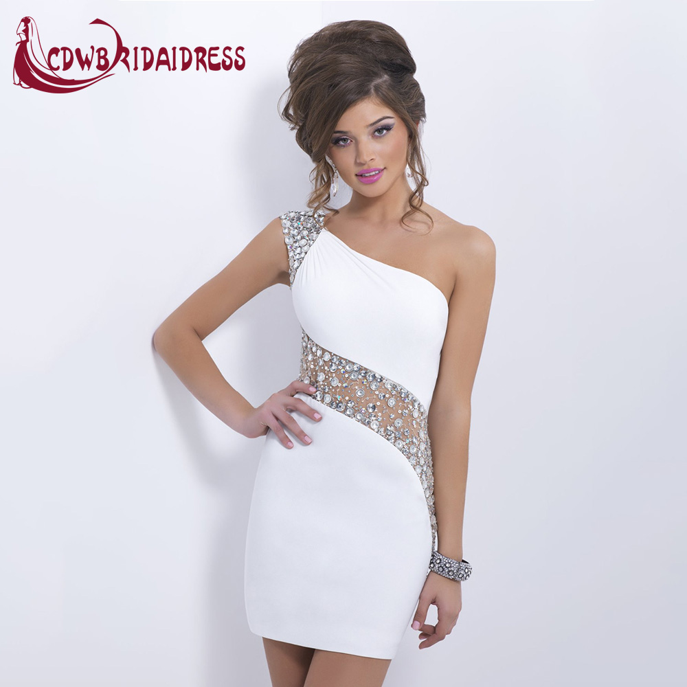 Sexy Tight Short Mini White Prom Dresses With Fashion Crystal Spandex One Shoulder Cap Sleeve Fashion Party Gowns For Graduation White Prom Dress Prom Dressesprom Dress Fashion Aliexpress