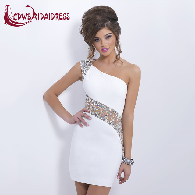 f535574a727 Sexy Tight Short Mini White Prom Dresses With Fashion Crystal Spandex One  Shoulder Cap Sleeve Fashion Party Gowns For Graduation
