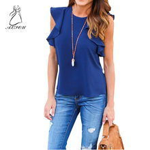 Summer Chiffon Ruffle Sleeve Casual Round Neck T-Shirt asual Female T shirts Tops Solid Women Tee Shirts Pleated Ruffle Armhole ruffle sleeve striped tee