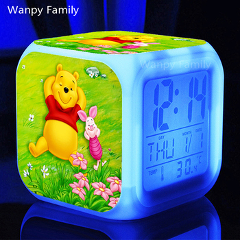 Very lovely Winnie the Pooh Alarm Clocks,Glowing LED Color Change alarm clocks Kids Multifunctio toys digital alarm clocks