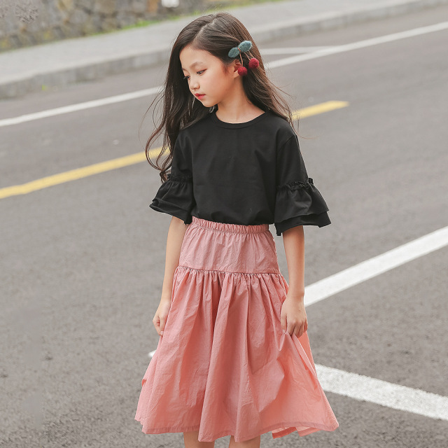 a0bb5607dd72 Summer Teenage Girls Clothing Set Size 8 10 12 13 14 16 years Two-piece  Suits Black Tops Pink Skirt 2018 New Girls Outfit