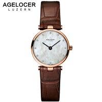 AGELOCER watch women clock dress watches AGELOCER brand women's Casual Leather quartz watch Analog women's wrist watch gifts
