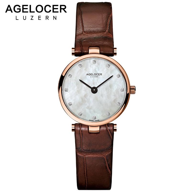 AGELOCER watch women clock dress watches AGELOCER brand women's Casual Leather quartz-watch Analog women's wrist watch gifts