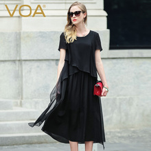 VOA Fake Two Silk Black Casual Dresses Women In Summer 2017 New Europe Loose A Words Short Sleeved A5935