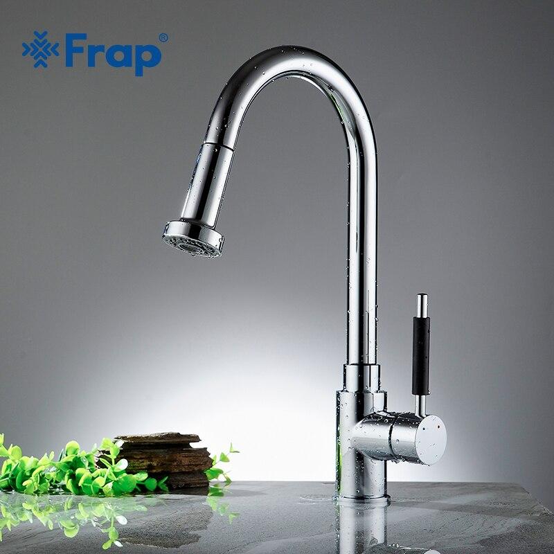 Frap 1 Set Kitchen Faucets Silver Single Handle Pull Out Kitchen Tap Single Hole Handle Swivel 360 Degree Water Mixer Tap Y40027