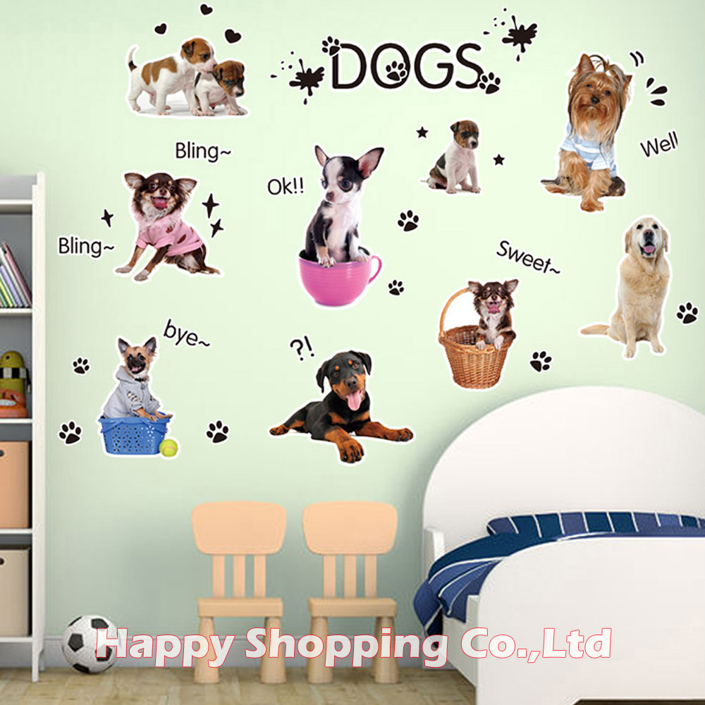 compare prices on childrens bedroom decals online shopping buy diy lovely dogs 3d wall stickers for kids baby room childrens bedroom kitchen refrigerator decorative decals