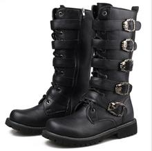 Army Boots Men High Military Combat Boots Metal  2018 Buckle Punk Mid Calf Male Motorcycle Boots Lace Up Men's Shoes Rock 37-45 zero more army boots men high military combat boots metal buckle punk mid calf male motorcycle boots zipper men s shoes parade