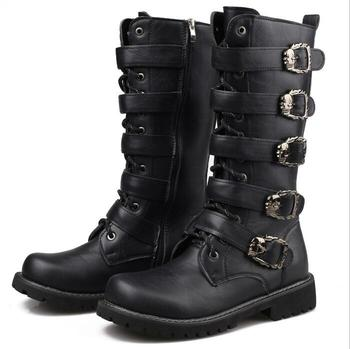 Army Boots Men High Military Combat Boots Metal  2018 Buckle Punk Mid Calf Male Motorcycle Boots Lace Up Men's Shoes Rock 37-45