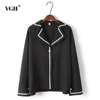 VGH Hit Color Women S Shirts With Pearl Button Top Spring Lapel Collar Long Sleeve Loose