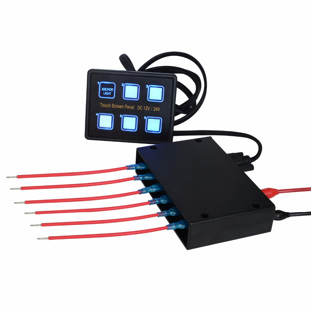 12v 24v 6 Gang Led Switch Panel Slim Touch Control Box For Car Wiring Marine Boat Caravan Yacht Truck In Switches Relays From Automobiles Motorcycles