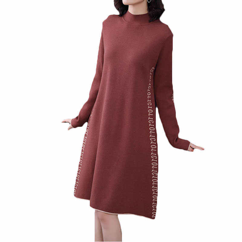 2018 Autumn Winter New Korean Large Size Women Loose Knitted Dress Half Turtleneck Female Thicken Warm Long Sweater LQ429