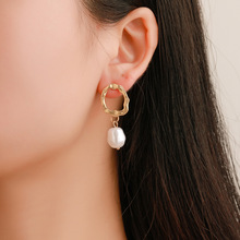 New Korean Fashion Earrings Simple Gold Geometric Wave Temperament Pearl Pendant Wholesale Trendy