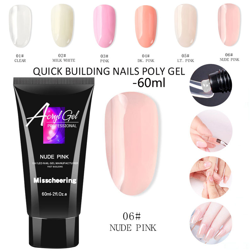 60ml uv gel Builder Poly Gel Schnell Gebäude 6 farben professionelle Nagel Verlängerung Natürliche Harte Gel Acryl Gel Für nail art