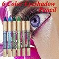6 Cor Dos Olhos shdow Sombra do Lápis Caneta Maquiagem À Prova D' Água Brilho Lápis Delineador Eye Pen Frete Grátis
