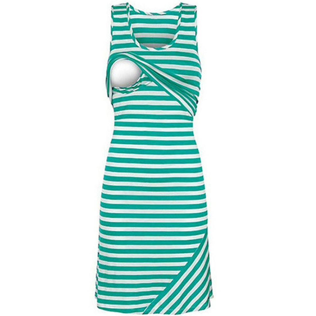 YJSFG HOUSE Women Nursing Dress Sexy Lady Convenience Baby-Sit Sleeveless Casual Long Slim Dress Baby Striped Tank Autumn Shirt
