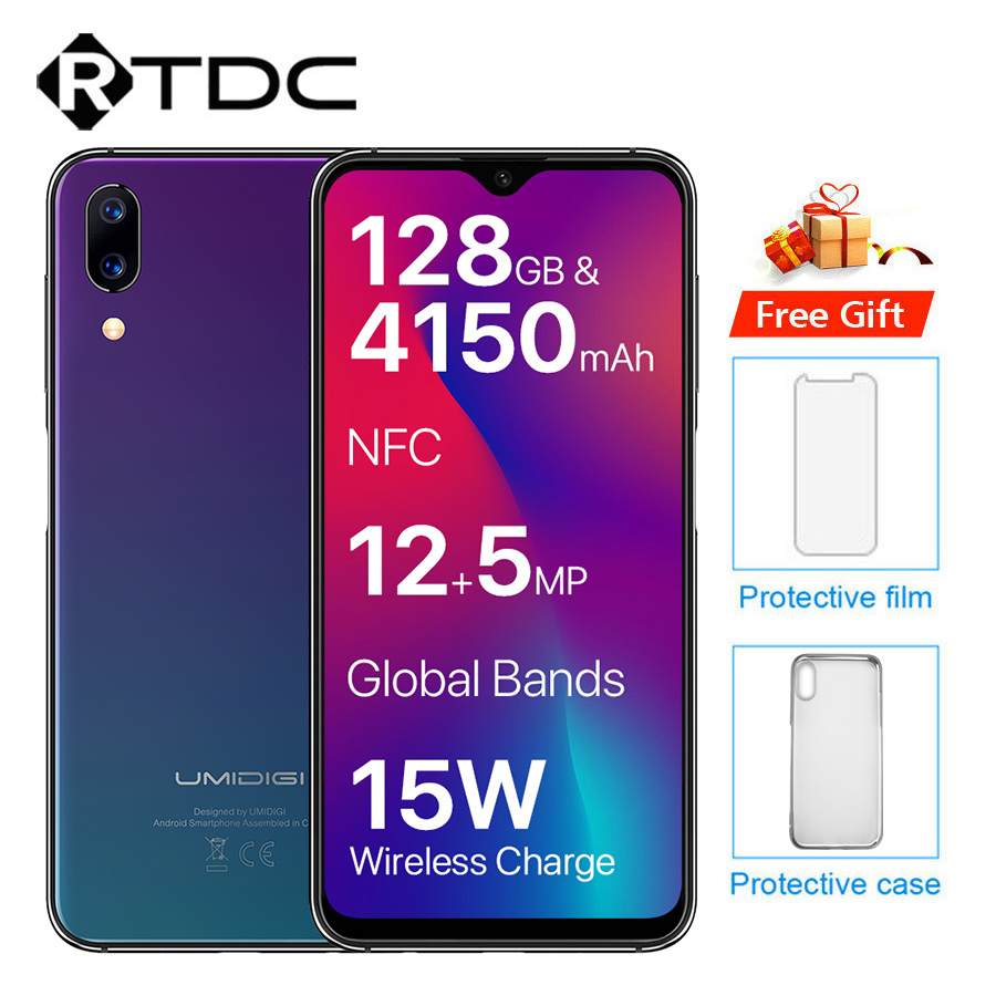 UMIDIGI One Max Android 8.1 Mobile Phone 6.3'' 4GB+128GB Face Unlock Wireless Charge 4150mAh 12MP+16MP  Dual 4G NFC Smartphone-in Cellphones from Cellphones & Telecommunications    1