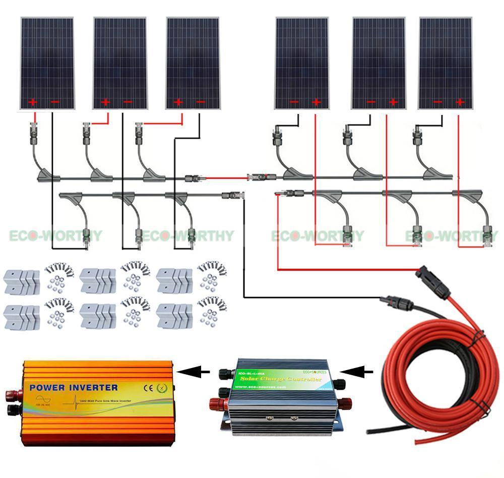 6pcs 160W Solar Panel 960W Solar System w/ 45A Regulator 220V Inverter off Grid