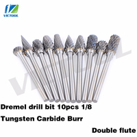 High Quality 10pcs 1 8 Tungsten Carbide Burr 3mm Rotary Cutter Files Set CNC Engraving Bit