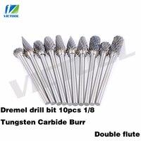 High Quality 10pcs 1 8 Tungsten Carbide Burr 3mm Rotary Cutter Files Set CNC Engraving Bit