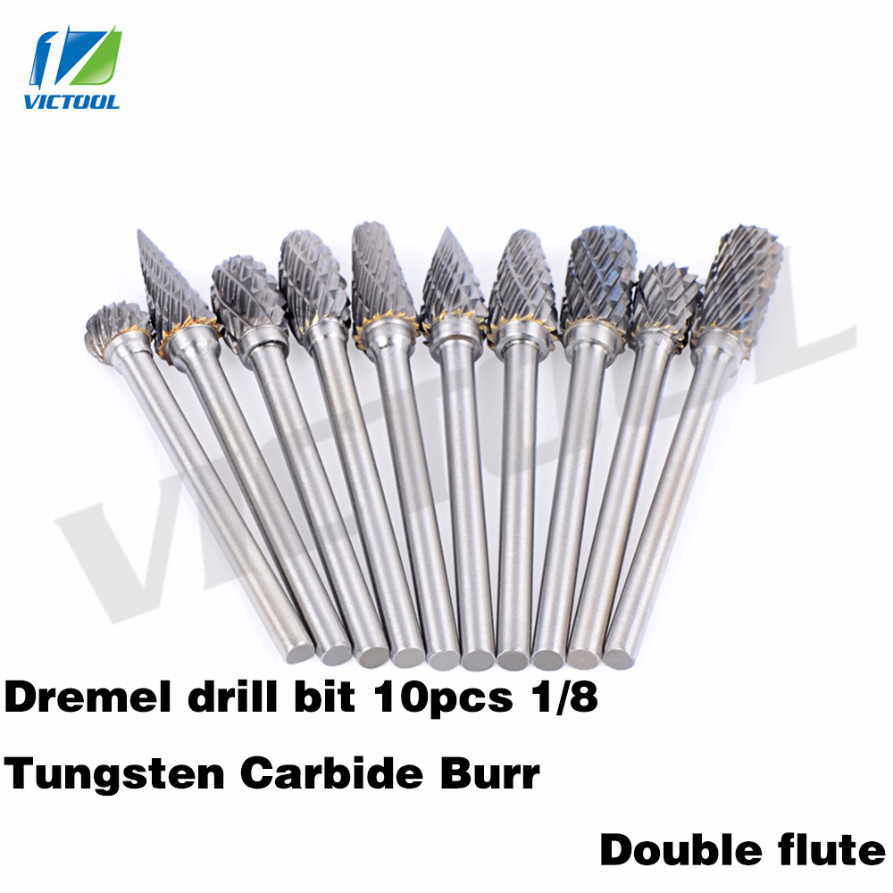 10pcs 1/8 Tungsten Carbide 3mm Drill Bits Rotary Burrs Metal Diamond Grinding Woodworking Milling Cutters For Dremel Drill bits цена